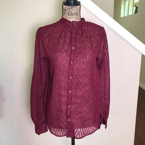 Free people button up blouse, sheer, maroon